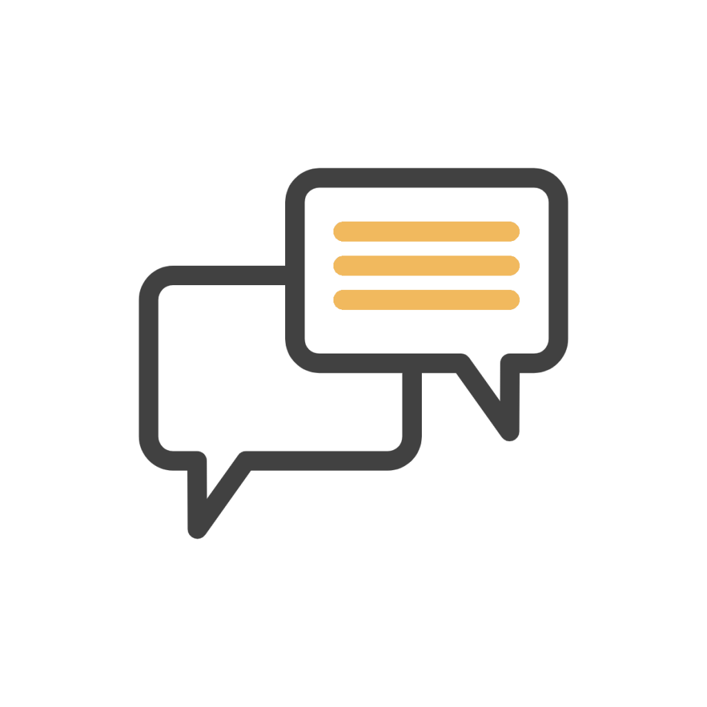 icon with two dialogue clouds